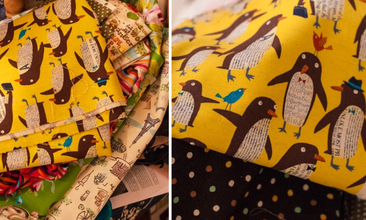 kokka-yellow-penguin-fabric
